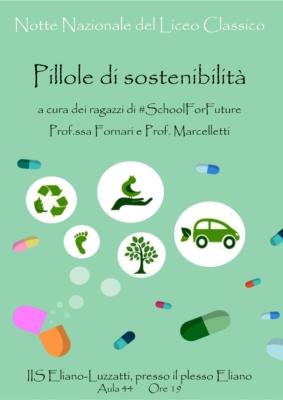 Locandina Pillole di Sostenibilità (#SchoolForFuture)